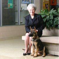 Faye Beth O'Byrne with her adopted german shepherd