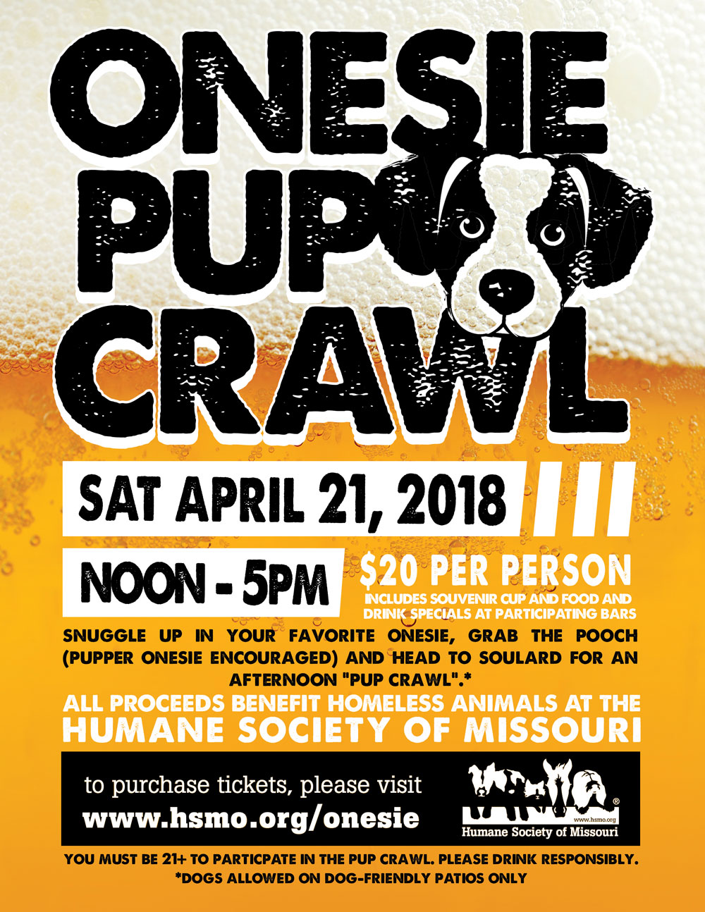 HSMO's Onesie Pup Crawl is on April 21 2018